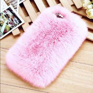 Accessories - Fluffy fur IPhone Case-PINK